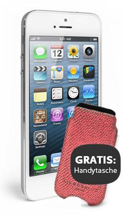 Apple iPhone 5 16GB Weiß & Silber mit Liebeskind Tasche
